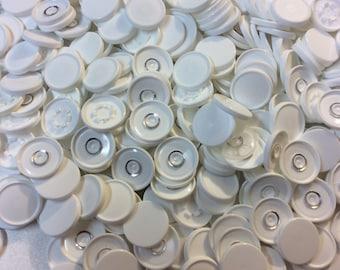 Medicine  flip off vial caps for crafts: whites 22mm caps- 100 pcs