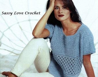 Crochet sweater pattern crochet summer top pattern crochet blouse pattern crochet Textured Panel Top & vest PDF Download
