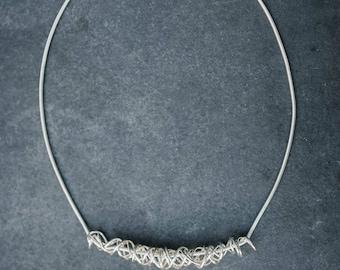 Handmade Statement Solid Sterling Silver Scrambler Necklace