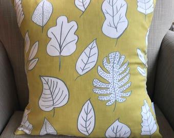 Prestigious Biscayne Honey Dew Yellow Autumn Leaves Leaf 16 Cushion Cover