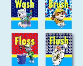 """Paw Patrol Wash Brush Floss Flush Kids Bathroom 8""""x10"""" Wall Art - Set of 4"""