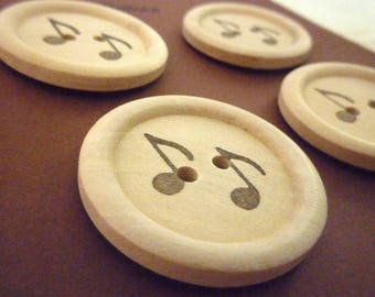 Wooden Buttons - Stamped Music Collection - 30mm
