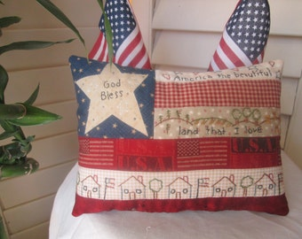 Embroidered Flag Pillow , American Flag Embroidered Pillow , Handmade Patriotic Folk Art  , Americana Home Decor