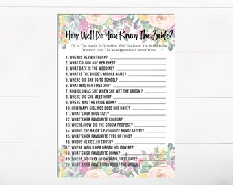 How Well Do you know Your Bride Bridal Shower Game Printable Game Bridal Game Floral Bridal Game Flower Bridal Game