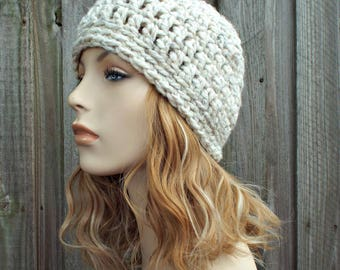 Tweed Cream Wheat Beanie - Cream Crochet Hat Cream Womens Hat Cream Mens Hat - Cream Beanie Warm Winter Hat