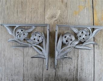 A pair of Art Nouveau flower wall shelf brackets solid cast iron 8 inch AL84