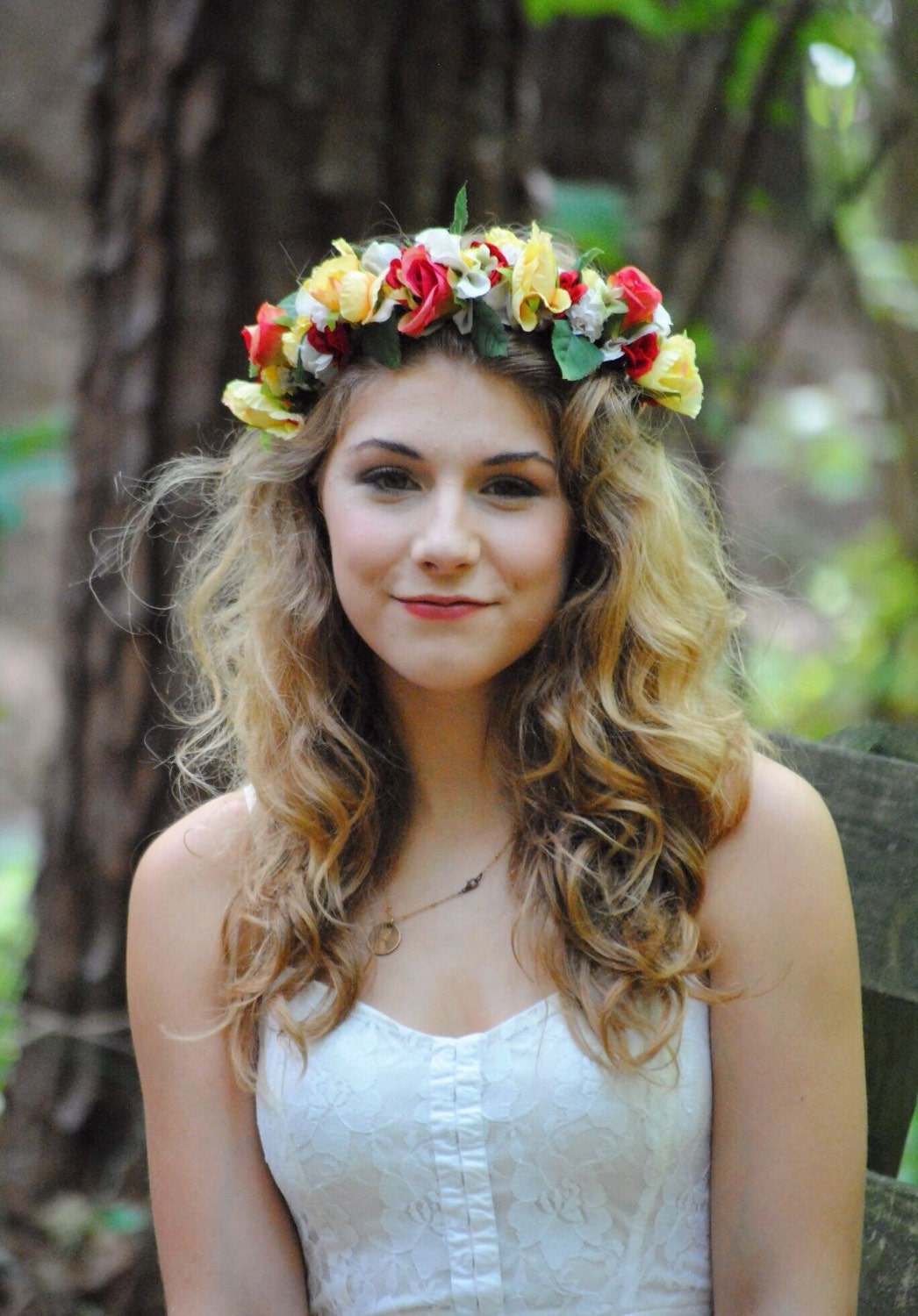 Cwerky whimsical woodland red yellow rose flower crown rustic description very woodland esque flower crown izmirmasajfo Image collections