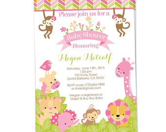 Pink Safari Baby Shower Invitation for Girl in Pink, Safari Animals Baby Shower Invite, Jungle Themed Baby Shower- Printed or Digital