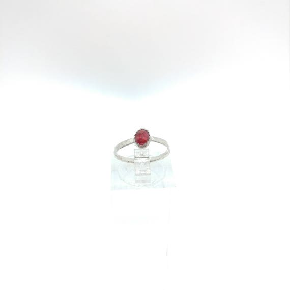 Rose Cut Ruby Ring | Sterling Silver Ring Sz 4.5 | Simple Red Ring | July Birthstone Ring | Natural Ruby Ring | Rings for Tiny Fingers