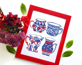 Tea cups print - 8x10 Iznik Multani traditional tea cups - mother's day gift - blue pottery - blue red teacups