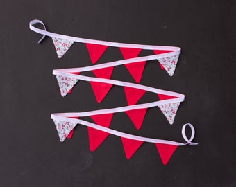 Mini Good Will Bunting Coral Red Floral Bunting