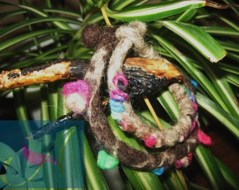 Set of two wet felted bangles/wool/felt/gift for her/spring branches/wonderful colors/ unique/ spring buds/ collectible