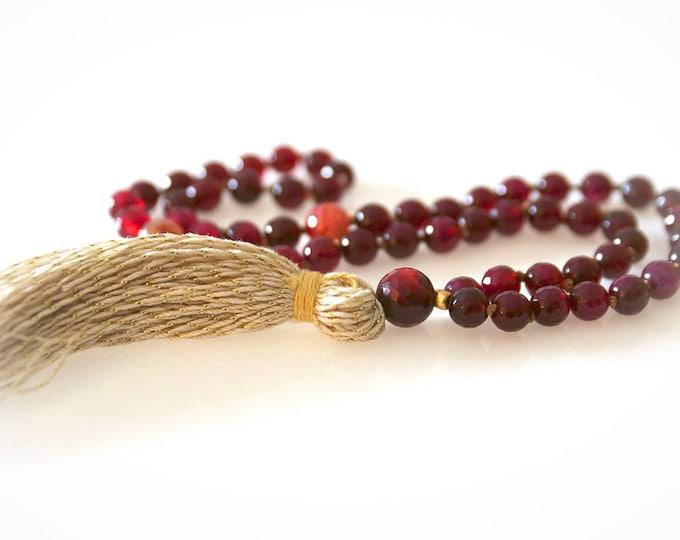 Half Mala - 54 Beads. Burgundy Agate and Tourmaline Gemstones With Gold Tassel. Yoga Beads. Meditation Beads.