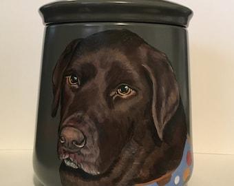 Hand painted pet portrait urn