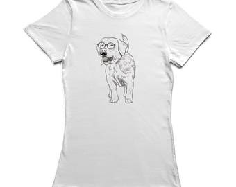 Cute Hipster Dog With Moustache And Glasses Sketch Graphic Women's T-shirt
