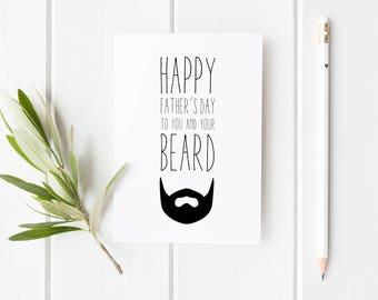 Beard Father's Day Card, Funny Beard Greeting Card, Happy Fathers Day Beard, Card For Dad, Funny Card For Dad, Handmade Fathers Day Card Dad