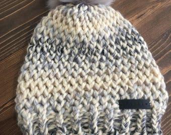 Cream Gray Wool Blend Pom Hat