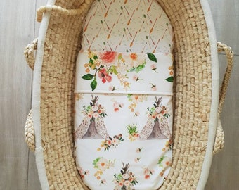 Boho double sided cotton bassinet quilt or pram blanket. Teepees and floral in soft autumn tones