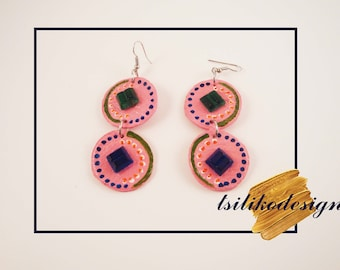 Pink rainbow earrings