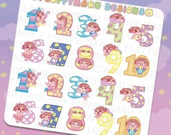 Numbers Deco Sticker Set    Planner Stickers, Cute Stickers for Erin Condren (ECLP), Filofax, Kikki K, Etc.    DS34