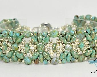 Exotic Flower/Starburst Superduo & Firepolish bracelet - Road to Marrakesh - PDF Beading Pattern