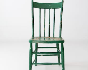 antique green painted wood spindle chair
