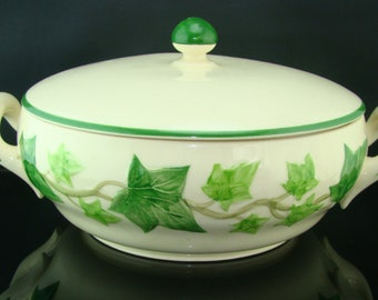 "1.5 Qt. Franciscan Covered Casserole 10""  Made In USA Ivy Motif With Green Stripe ""I Love Lucy"" Pattern Made in California USA"