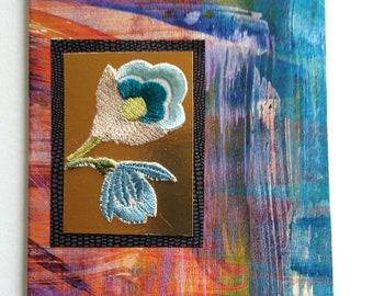 blue orange flowers card
