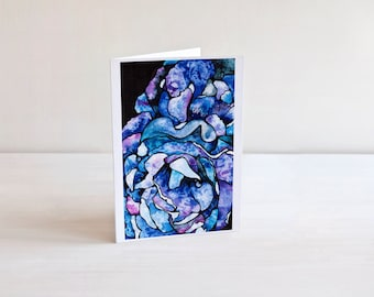 Blue and Purple Abstract Floral Art Card | Flower Art | Abstract Petal Painting | 5x7 Greeting Card | Notecard | Birthday or Thank You Card