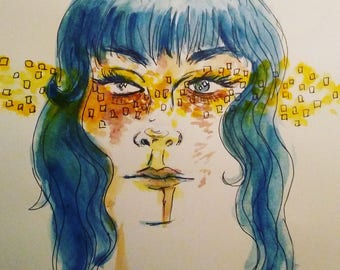 Blue haired girl original watercolor