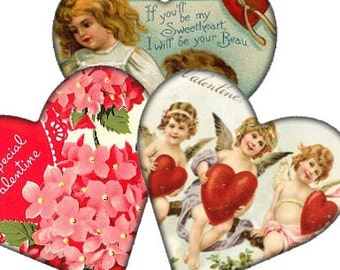 Victorian Valentine Angel Hearts 2x2 Digital Collage Sheet hearts cupids stickers tags greeting cards UPrint 300jpg