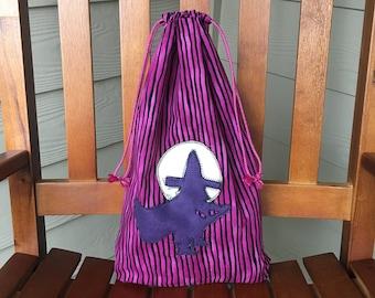 Halloween Bag, Trick-or-Treat Bag, Halloween Candy Bag, Cloth Bag, Drawstring Bag, Bag for Kids, Halloween Party Bag, Halloween Witch, Treat