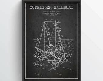 1977 Outrigger Sailboat Patent Poster, Sailboat Poster, Sailboat Print, Patent Art Print, Wall Art, Home Decor, Gift Idea, NA29P