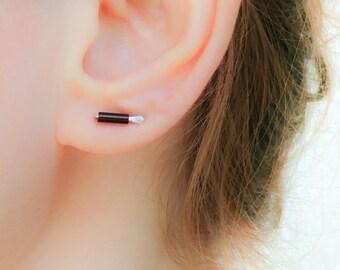 Ear Bars-Brown Earrings-Small Bar Studs-Line Stud Earrings-Tiny Silver Bar Earrings-Tiny Line Earrings-Czech Glass Earrings-Tiny Bar Studs