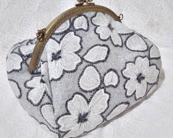 Woolen Kisslock Bag Clasp Frame Bag Shoulder Bag Embroidery Purse