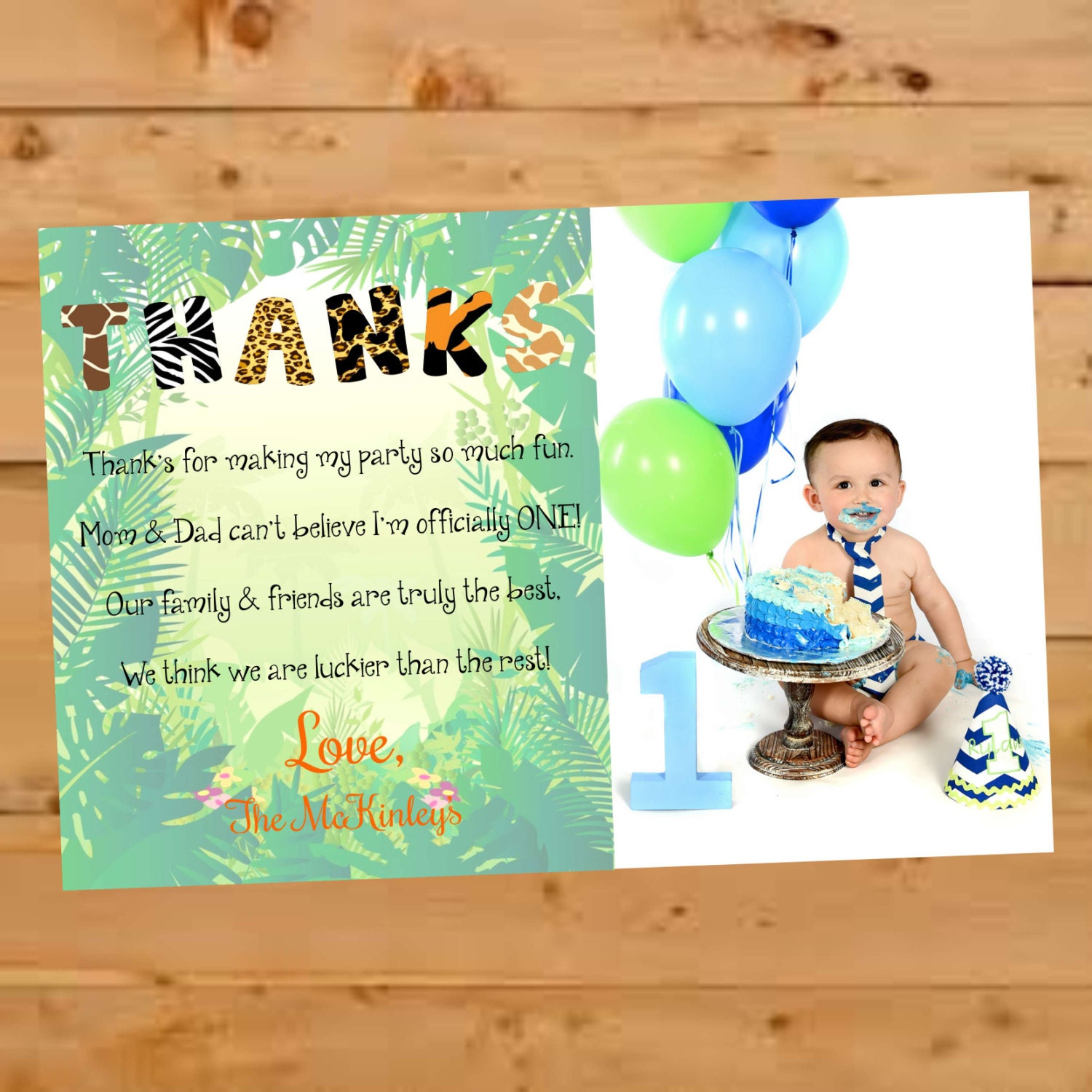 Birthday thank you card jungle themed thank you card safari zoom stopboris Choice Image