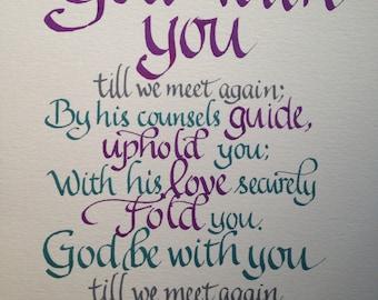 Goodbye Gift, Farewell, Custom Calligraphy, Christian Farewell, Christian Blessing, Pastor Farewell, Religious Farewell, 8 x 10, Any Colors