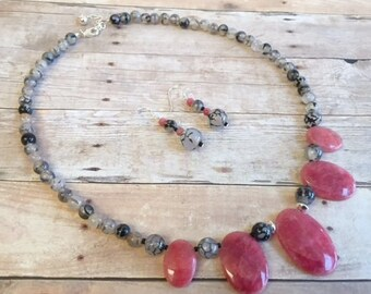 On Sale Pink and Gray Sterling Silver Necklace Set, Pink Rhodochrosite, Fire Agate, FREE SHIPPING