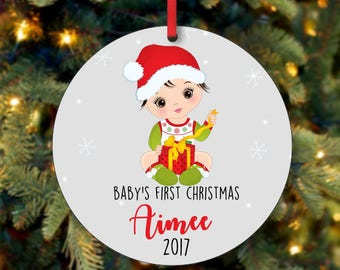 Baby's Girl First Christmas Ornament, Personalized Christmas Ornament, Custom Ornament, Black Hair Baby Girl Christmas Ornament (0065)