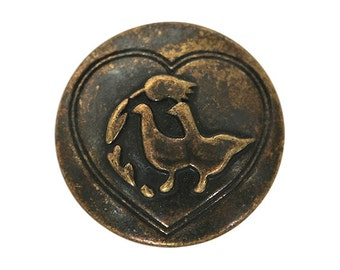 3 Dill Love Birds 3/4 inch ( 20 mm ) Dill Metal Buttons Antique Brass Color