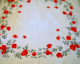 Vintage  Wilendure Tablecloth ~ Square Tablecloth~ Red Roses Linens~ American Beauty Talisman Rose~