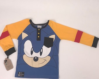 Size 8 - UpCycled Long Sleeve Henley Tee with Pocket - Sonic the Hedgehog