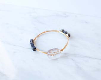 The Elise Bangle - Navy Wire Wrapped Stone Bangles, Wire Wrapped Bracelet, Stone Bangle, Stone Bracelet, Stackable Bangles