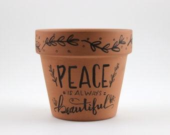 3 Inch Calligraphy Succulent Terra Cotta Pot