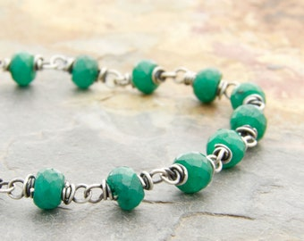 Boho Emerald Birthstone Jewelry - Green Birthstone Bracelet - Genuine Emerald Bracelet - May Birthstone - Sterling Silver - #4884