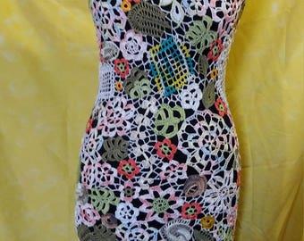 Designer Crochet White Floral Sleeveless Dress