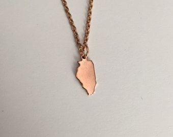 Illinois Necklace, Illinois, rose gold Illinois necklace, Illinois jewelry, Illinois pendant, state necklace, state, rose gold necklace