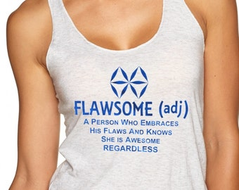 """FLAWSOME Ladies yoga activewear  racerback style 673 tank with """"aBuddhaSays"""" LOGO on the back"""