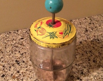 Vintage Food Chopper Yellow Veggie Lid Turquoise Wood Pull