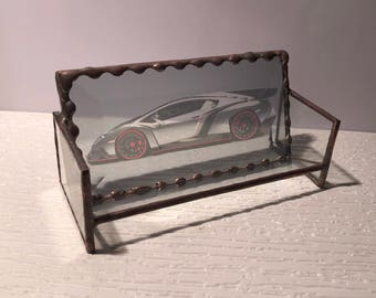 Business Card Holder   Horizontal   Lamborghini Veneno In Clear Beveled  Glass   Copper Color